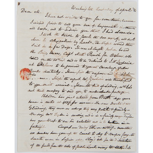 Indian Wars-Era Letter with Content Related to Seminole Conflict and Unrest in Texas, 1836