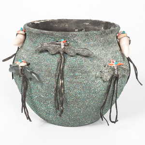 Zuni Fetish Pottery Jar, with Crushed Turquoise