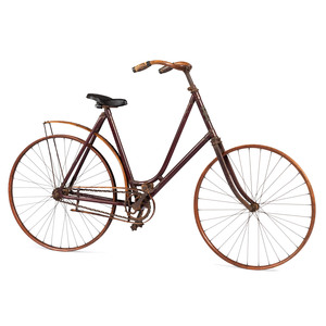 A Stencil Decorated Wood and Metal Bicycle