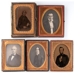 Five Quarter Plate Portraits of Men and Women by Jacobs of New Orleans