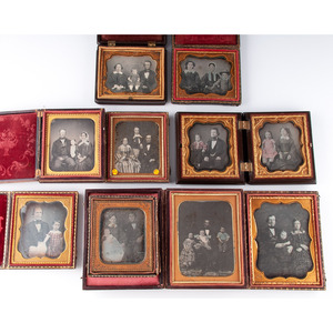 Family Pairs and Groups, Lot of Ten Daguerreotypes Incl. Lovely Hand-Tinted Portraits
