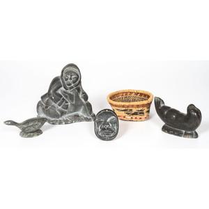 Inuit Soapstone Sculptures, PLUS A Nuu-chah-nulth / Makah Basket