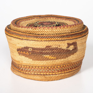 Unusually Large Makah Polychrome Basket