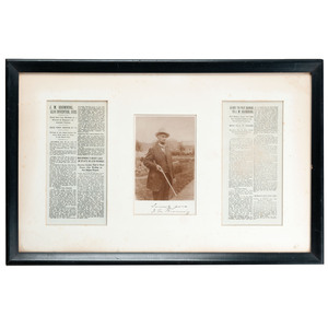 Autographed Photograph with Newspaper Death Notice of John M. Browning