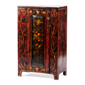 A Paint Decorated Cabinet by Peter Ompir