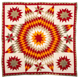 An Unusual Four-Color Bethlehem Star Crib Quilt