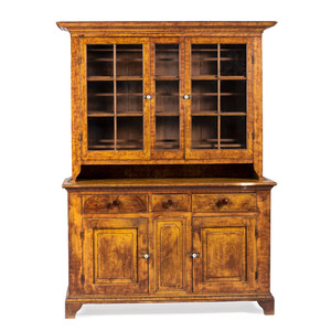 A Sponge Paint Decorated Pine Stepback Cupboard With Raised Panel Doors