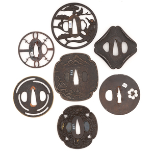 Lot of Seven Japanese Samurai Sword Tsuba