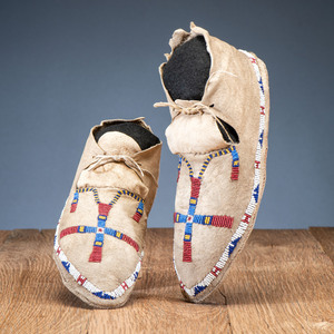 Cheyenne Beaded Hide Moccasins, with Recycled Parfleche Sole