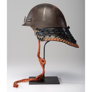 A Very Unusual Japanese Samurai Helmet (Kabuto) Formed in One Piece of Steel