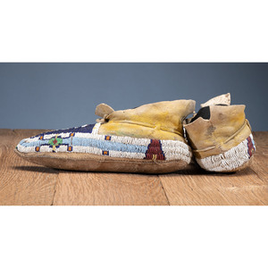 Cheyenne Youth Beaded Hide Moccasins
