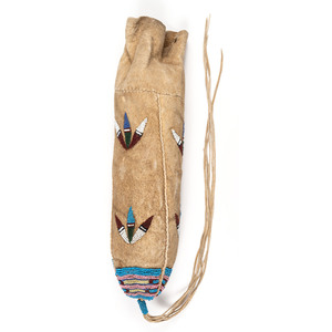 Santee Sioux Beaded Hide 3-Sided Pouch