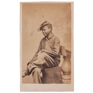 CDV of Seated African American Boy Wearing a Kepi by J.W. Black, Boston, circa 1865