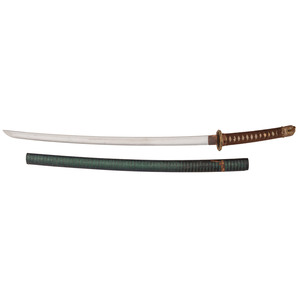 Gendai Japanese Samurai Sword (Katana) Signed Mutsu (no) Kami Kaneyasu in Shin-Gunto Mounts