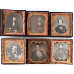 Lot of Six Sixth Plate Daguerreotypes Featuring Young Men with Severe Expressions, Including Identified Civil War Soldier, Jacob C. Denise, Wearing Civilian Clothing