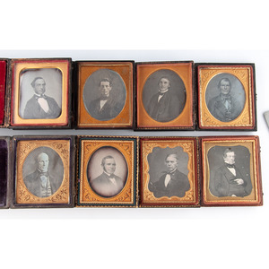Assorted Daguerreotypes of Gentlemen, Incuding Rare Jenny Lind 2 Pressed Paper Case, Lot of 20