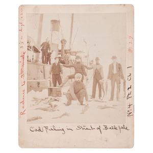 Cod Fishing in the Strait of Belle Isle Cabinet Card Incl. Matthew Henson, 1909