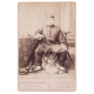 J.P. Ball Cabinet Card of Young Chinese Scholar, Helena, Montana, circa 1888