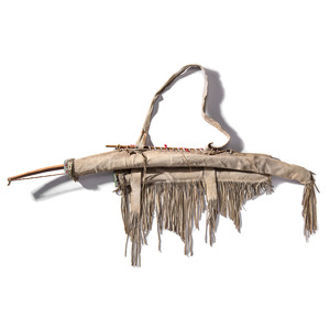 Sioux Beaded Hide Bowcase and Quiver, with Bow