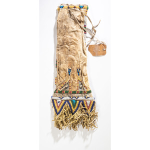 Sioux Beaded Hide Tobacco Bag, Purportedly Belonging to Red Cloud (Lakota, 1822-1909)