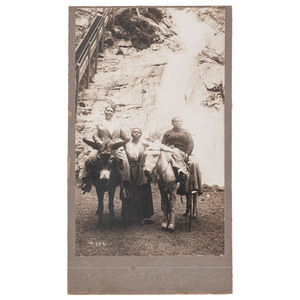 Female African American Tourists at Cheyenne Falls, Oversize Photograph, Colorado Springs, circa 1900