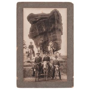 African American Tourists at Balanced Rock Near Manitou, Colorado, circa 1900