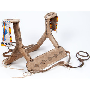 Curio Northern Plains Saddle, with Beaded Hide Drops