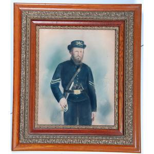 Charcoal Portrait of Identified Civil War Soldier, Orlando Vanorman, 2nd Illinois Cavalry