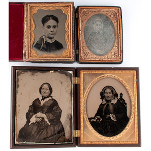 Lot of 11 Half Plate, Quarter Plate, and Sixth Plate Daguerreotypes and Ambrotypes of Women, Including Lovely Ambrotype Portrait by C.L. Howe Housed in Patriotic Union Case [Berg 1-3S]