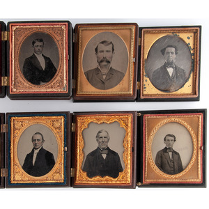 Lot of 25 Assorted Daguerreotype, Ambrotype, and Tintype Portraits of Men Housed in Union Cases