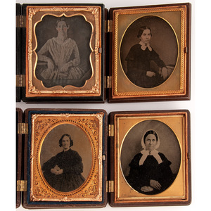 Lot of 26 Assorted Daguerreotype, Ambrotype, and Tintype Portraits of Women Housed in Union Cases