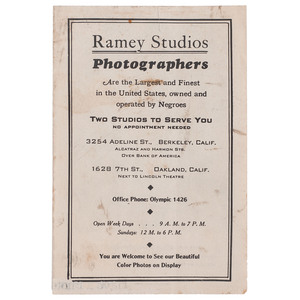 Ramey Studios Photographers Handbill, Oakland, California, circa 1942, Featuring Image of Dorie Miller, Hero at Pearl Harbor