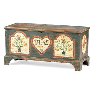 A Berks County, Pennsylvania Paint Decorated Pine Blanket Chest