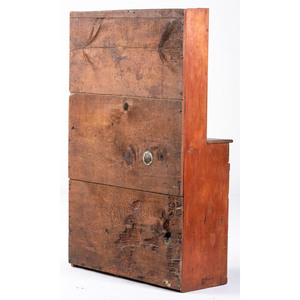 A Primitive Red Painted Pine Stepback Cupboard