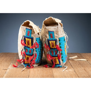 Sioux Beaded Hide Possible Bags, Matched Pair, From the Collection of Robert Jerich, Illinois