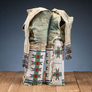 Arapaho Beaded and Dyed Leggings, From the Collection of Robert Jerich, Illinois
