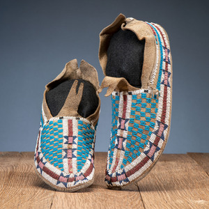Cheyenne / Arapaho Beaded Buffalo Hide Moccasins, From the Collection of Robert Jerich, Illinois