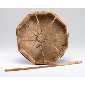 Western Great Lakes Hide Drum and Beater, From the Collection of Robert Jerich, Illinois
