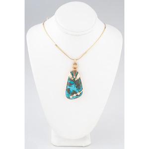 (Cincinnati) Southwestern 14k Gold, Turquoise, and Diamond Necklace