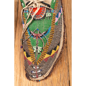 Cheyenne Beaded Hide Moccasins, with Peyote Imagery, From the Collection of Robert Jerich, Illinois