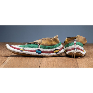 Cheyenne Beaded Hide Moccasins, with Recycled Parfleche Sole, From the Collection of Robert Jerich, Illinois