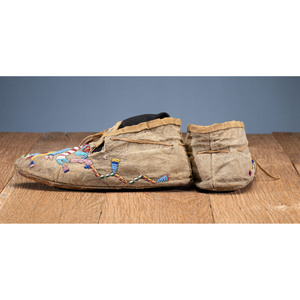 Santee Sioux Beaded Hide Moccasins, From the Collection of Robert Jerich, Illinois