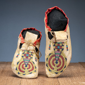 Cheyenne Beaded Hide Moccasins, From the Collection of Robert Jerich, Illinois