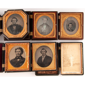 Assorted Union Cases Containing Daguerreotype, Ambrotype, and Tintype Portraits of Men and Women, Incl. Pair of Daguerreotypes by Anson, Plus