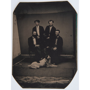 Half Plate Tintype Portrait of Four Men Posed with a Dog
