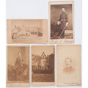 Pennsylvania in the Civil War, Five CDVs, Incl. View of Platform Where General Meade was Presented Sword in 1863, Union Volunteer Refreshment Saloon, and More