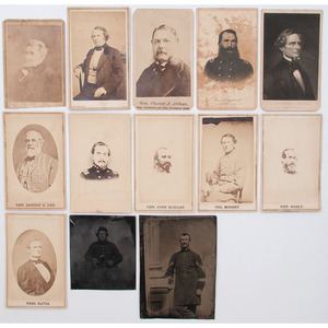 Civil War CDVs of Northern and Southern Personalities, Incl. Davis, Lee, and Mosby, Plus Tintypes of Union Soldiers
