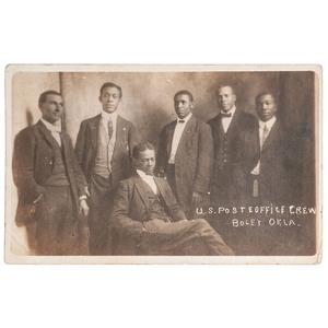 U.S. Post Office Crew, Boley Okla., Real Photo Postcard, circa 1908