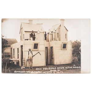 Only Fish Scale House in the World, Real Photo Postcard, 1907