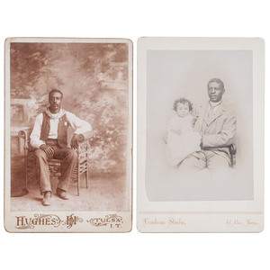 Pollard Cole, USCT & 10th Cavalry Sergeant Cabinet Card Portrait with Infant Son, El Paso, Texas, 1893,Plus